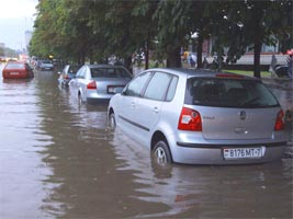 flooded streets in Minsk