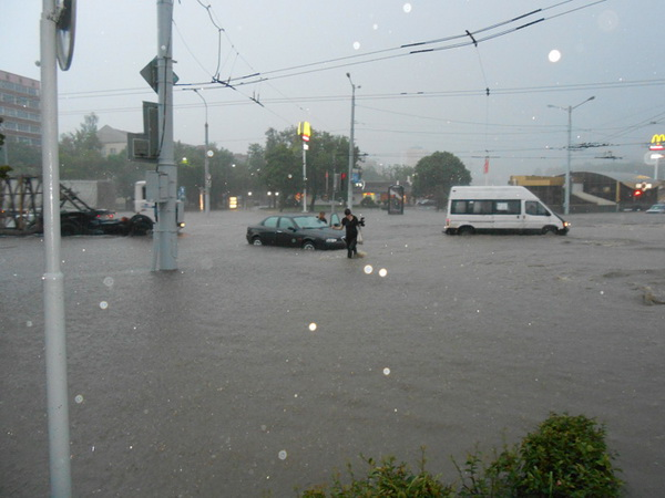 flooded pushkina ave in minsk