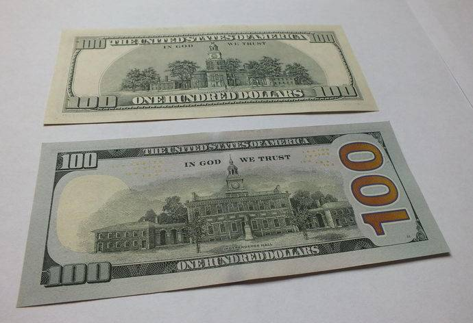 new vs old 100 dollar bill back side