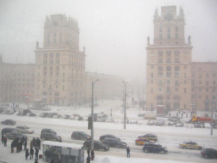 snowfall on 15 of march in minsk